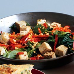 Spicy Thai Tofu with Red Bell Peppers and Peanuts recipe