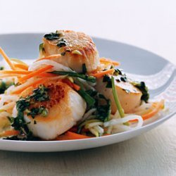 Scallops with Cilantro Sauce and Asian Slaw recipe