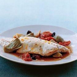 Bass in Artichoke and Tomato Broth recipe