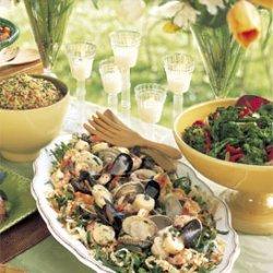 Seafood Salad with Collard Greens Slaw recipe