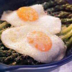 Fried Eggs and Asparagus with Parmesan recipe