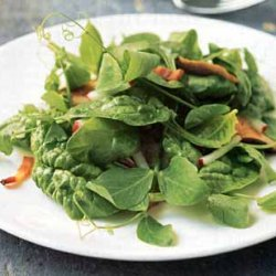 Pea Shoot and Spinach Salad with Bacon and Shiitakes recipe