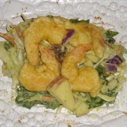 Tempura Style Curry Shrimp Over Spinach And Apple ... recipe
