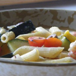 Greek Pasta Salad With Shrimp Tomatoes Zucchini Pe... recipe