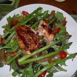 Salmon Salad With Caramelized Onions And Asparagus recipe