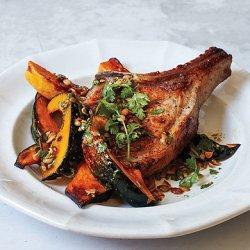 Pork Chops and Squash with Pumpkin Seed Vinaigrette recipe