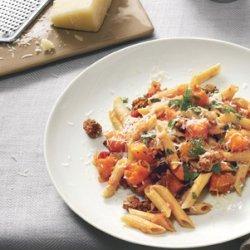 Multi-Grain Pasta with Butternut Squash, Ground Lamb, and Kasseri recipe