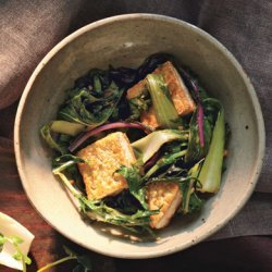 Stir-Fried Bok Choy and Mizuna with Tofu recipe