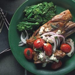 Lamb Chops with Red Onion, Grape Tomatoes, and Feta recipe