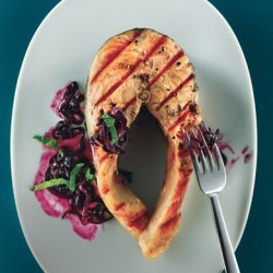 Grilled Salmon with Quick Blueberry Pan Sauce recipe