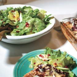 Escarole and Butter Lettuce Salad with Pomegranate Seeds and Hazelnuts recipe