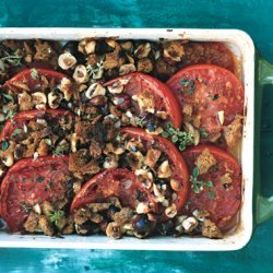Baked Tomatoes with Hazelnut Bread Crumbs recipe