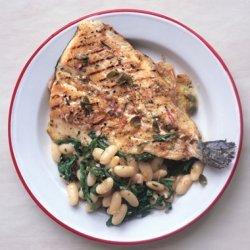 Grilled Trout with White Beans and Caper Vinaigrette recipe