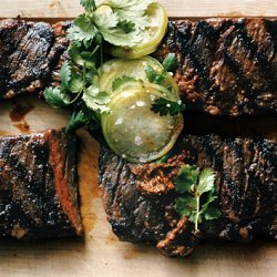 Grilled Skirt Steaks with Tomatillos Two Ways recipe
