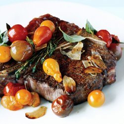 Porterhouse Steak with Pan Seared Cherry Tomatoes recipe