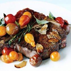 Porterhouse Steak with Pan Seared Cherry Tomatoes recipe