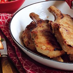 Garlic-Miso Pork Chops with Orange Bell Pepper and Arugula recipe