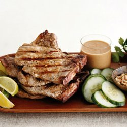 Grilled Pork Chops with Saté Sauce recipe