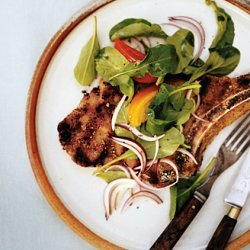 Grilled Veal Chops with Arugula and Basil Salad recipe