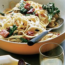 Lemon Fettuccine with Broccoli and Pancetta  Croutons  recipe