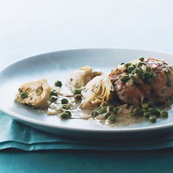 Braised Chicken with Artichokes and Peas recipe