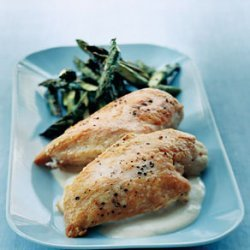 Roast Chicken with Asparagus and Tahini Sauce recipe