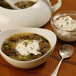 Mushroom and Leek Soup with Thyme Cream recipe