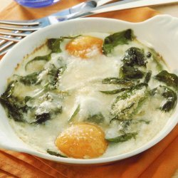 Baked Eggs With Cream Spinach And Parmesan recipe