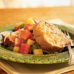 Baked Coconut French Toast With Tropical Fruit Com... recipe