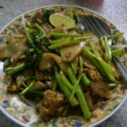 Thai Rice Noodle Stir Fry With Pork And Kay Lan recipe