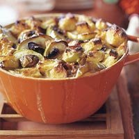 Apple  Bacon And Leek Bread Pudding recipe