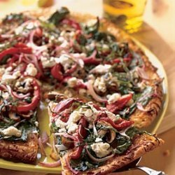 Bell Pepper, Red Onion, and Goat Cheese Pizza recipe