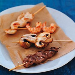 Grilled Beef, Chicken, Shrimp, and Mushroom Skewers recipe
