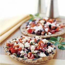 Grilled Pitas with Tomatoes, Olives, and Feta recipe