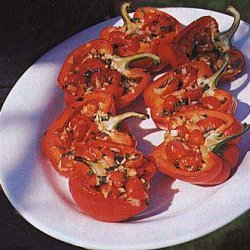 Roasted Peppers Stuffed with Cherry Tomatoes, Onion, and Basil recipe