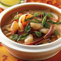 Spicy Shrimp and Coconut Noodle Soup with Shiitake Mushrooms recipe