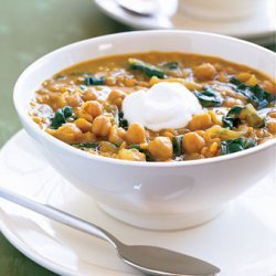 Curried Red Lentil and Swiss Chard Stew with Garbanzo Beans recipe