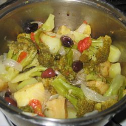 Broccoli And Potatoes With Tomato And Olives recipe