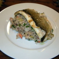Seafood Risotto With Pan-fried Fish recipe