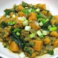 Curried Lentils With Sweet Potatoes And Swiss Char... recipe