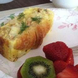 Croissant and Salmon Breakfast Casserole recipe