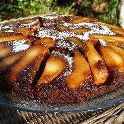 Upside Down Pear Gingerbread Cake recipe