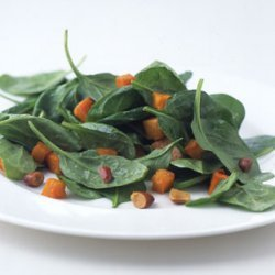 Roasted Butternut Squash and Spinach Salad with Toasted Almond Dressing recipe
