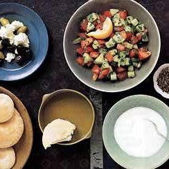 Tomato and Cucumber Salad with Pita Bread and Za'atar recipe