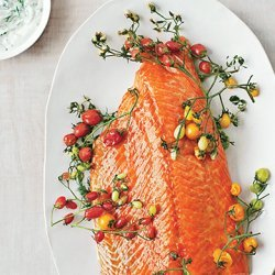 Slow-Roasted Salmon with Cherry Tomatoes and Couscous recipe