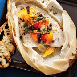 Sole en Papillote with Tomatoes and Olives recipe