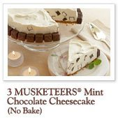 No Bake Three Musketeers Chocolate Mint Cheesecake recipe