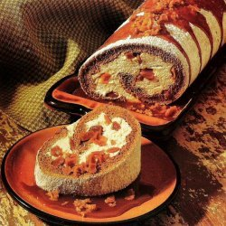 Pumpkin Roll Cake With Toffee Cream Filling And Ca... recipe
