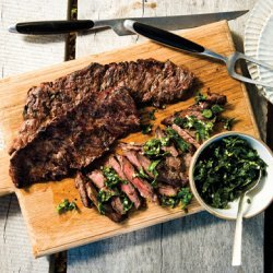 Grilled Skirt Steak with Herb Salsa Verde recipe