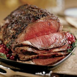 Standing Rib Roast with Porcini and Bacon Sauce recipe
